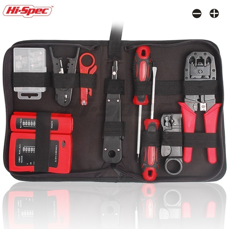 цена на Hi-Spec 19 in 1 Computer Network Repair Tool Kit LAN Cable Tester Wire Cutter Screwdriver Pliers Crimping Repair Tool Set Bag