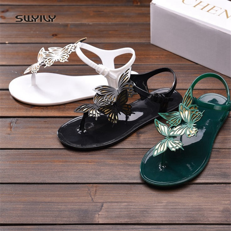 SWYIVY Sandals Woman Butterfly T Strap 2018 Female Plastick Jelly Shoes Ankle Belt Lady PVC Summer Casual Shoes Sandals Woman 40SWYIVY Sandals Woman Butterfly T Strap 2018 Female Plastick Jelly Shoes Ankle Belt Lady PVC Summer Casual Shoes Sandals Woman 40