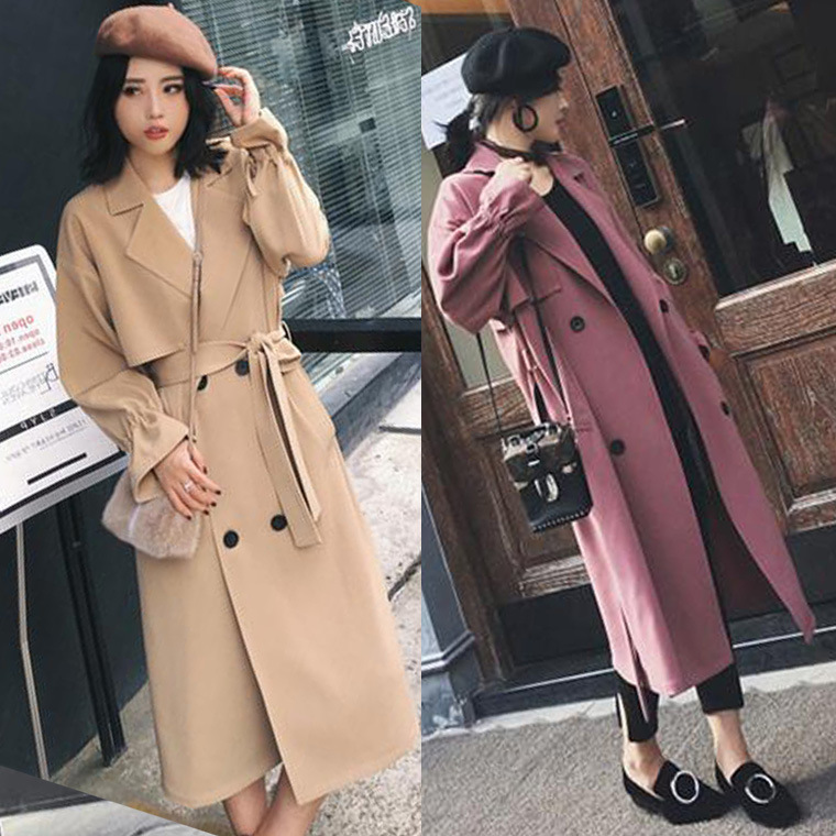 Dust coat women cultivate morality of new fund of autumn double-breasted long dress in loose long-sleeved pure color   trench   coat
