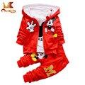 Invierno 3 unids/set monkids chándal ropa para niños del bebé niños niñas ropa de bebé ropa de los niños fija el juego del deporte