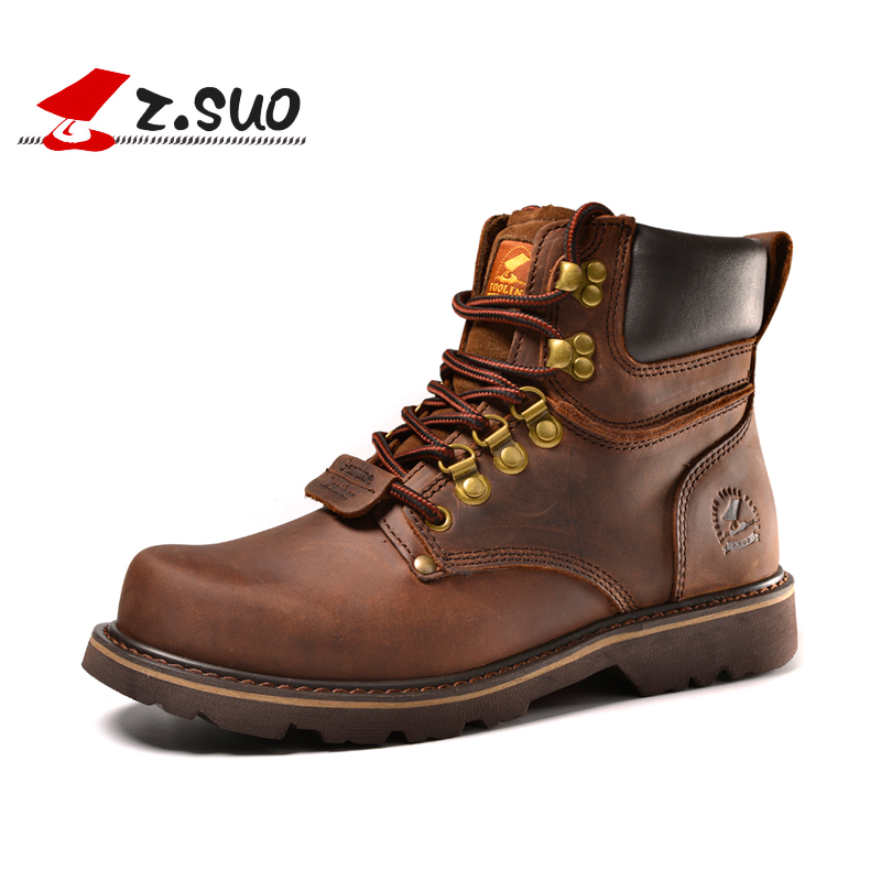 Z. Suo Genuine Leather men boots Fashion men Martin boots High quality ankle boots man winter shoes botas hombre ZS16508