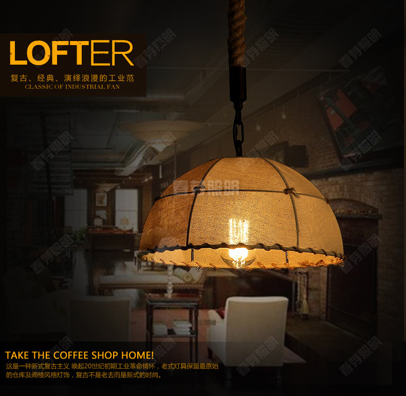 где купить Nordic American country style fashion LOFT designer's minimalist bar restaurant chandelier hotel light hemp lamp lighting по лучшей цене