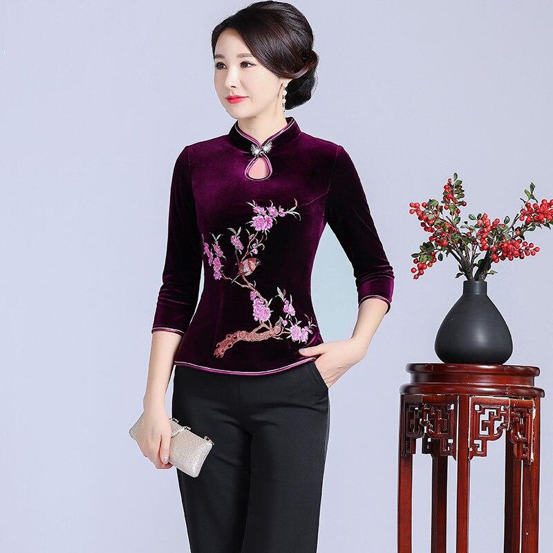 Élégant drop Oriental femme chemise Style chinois traditionnel Tang hauts automne hiver velours Blouse broderie vêtements