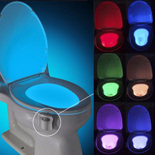ФОТО Mainifire Auto Sensor Activated Bathroom Toilet Night Light LED Motion With 8 Color Washroom Smart Night Lamp Fast