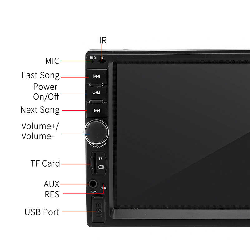 カーラジオ 7 インチダブル Din カーマルチメディア MP5 プレーヤー IPS フルビュータッチスクリーンステレオ FM ラジオブルー歯バックアップカメラ