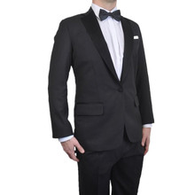 New Arrival Two Buttons Black Groom Tuxedos Notched Lapel Groomsmen Best Man Mens Wedding Suits (Jacket+Pants+Bow Tie)