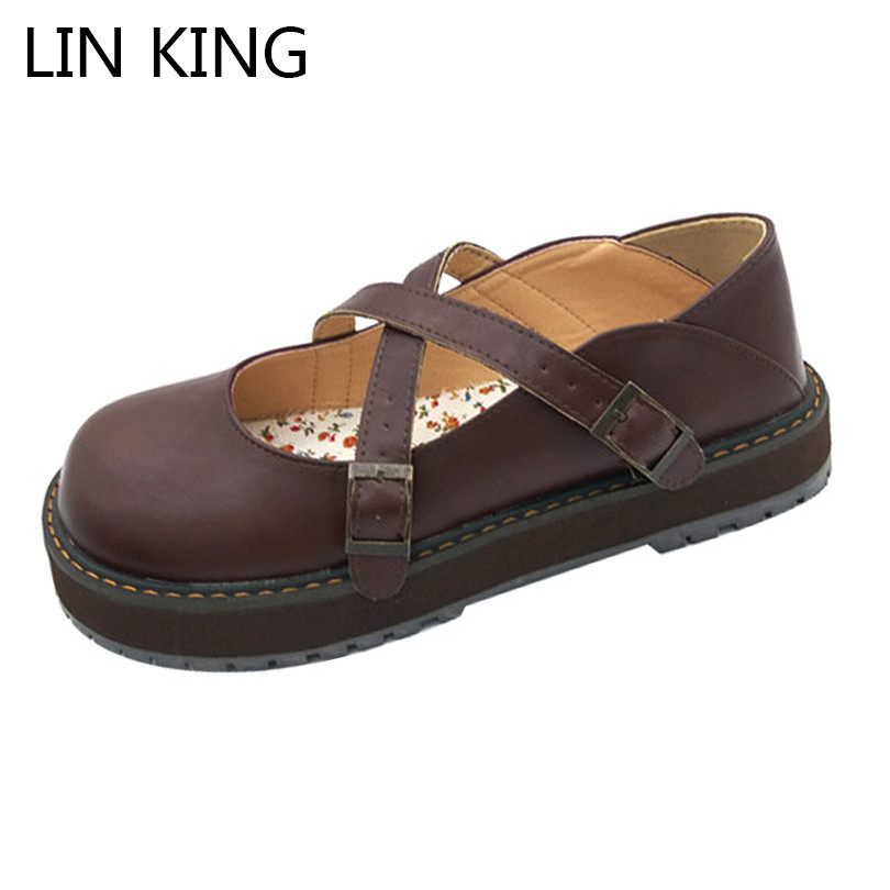 LIN KING Round Toe Cross Tie Women Pumps Fashion Buckle Wedge Shoes Comfortable Solid Lady Lolita Shoes Sweet Party Shoes lin king danganronpa nanami chiaki anime cosplay shoes lolita sweet lady wedge shoes round toe buckle women pumps plus size 43