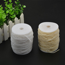 50m 3mm White Beige ABS Plastic Faux Pearl Beads Strands Wedding Decoration Party Home Accessories