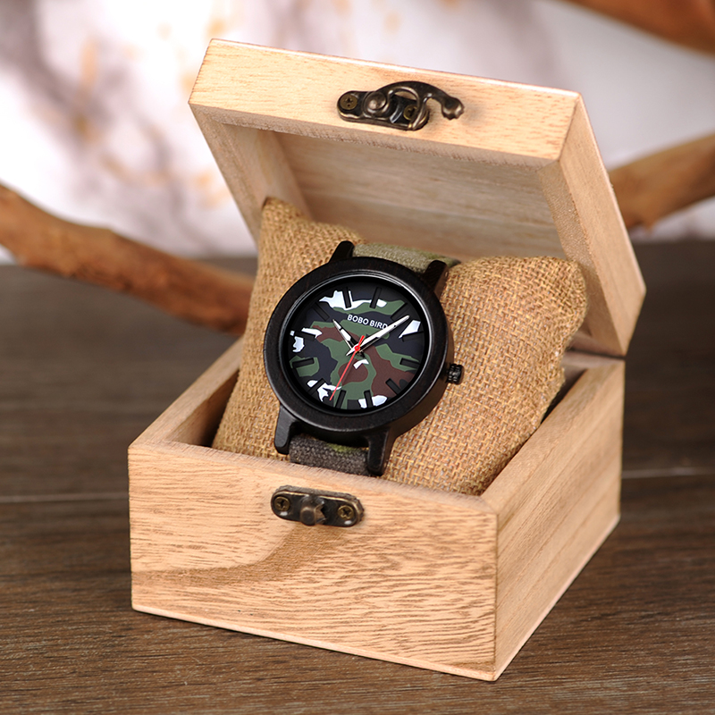 Image 5 - BOBO BIRD Army Green Watch Men Wood Luxury Top Brand Quartz Watches Great Gift for Boyfriend relogio masculino in Wooden BoxQuartz Watches   -