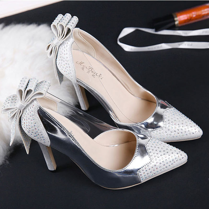 Fashion Thin High Heels font b Women b font Pumps Sexy Rhinestone Pointed Toe Party Shoes
