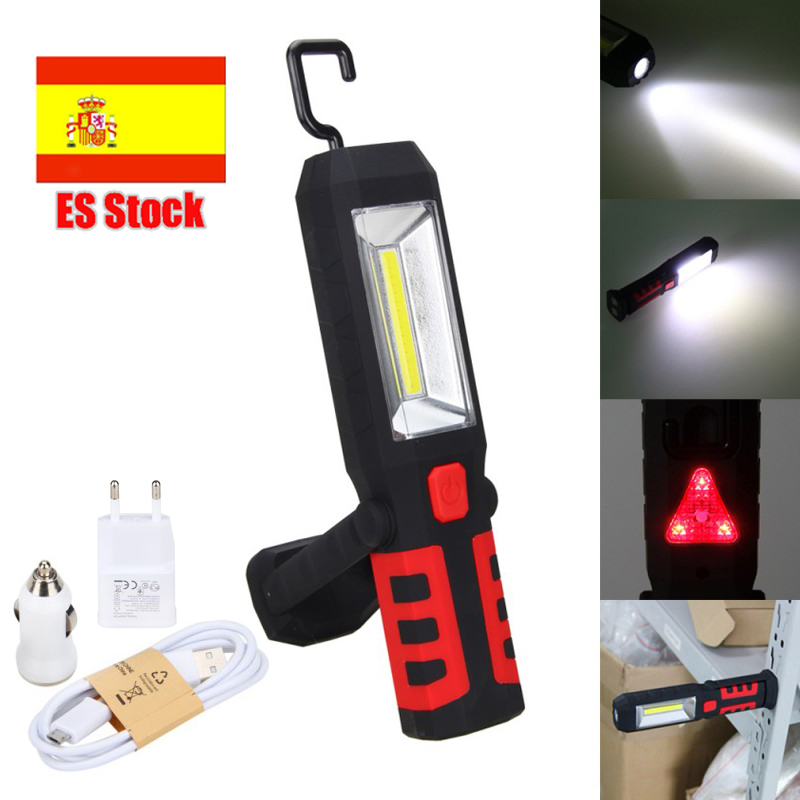 Rechargeable COB LED Flashlight Work Light Magnetic 360 Degree Stand Hanging Portable Flashlight Camping Hunting Torch