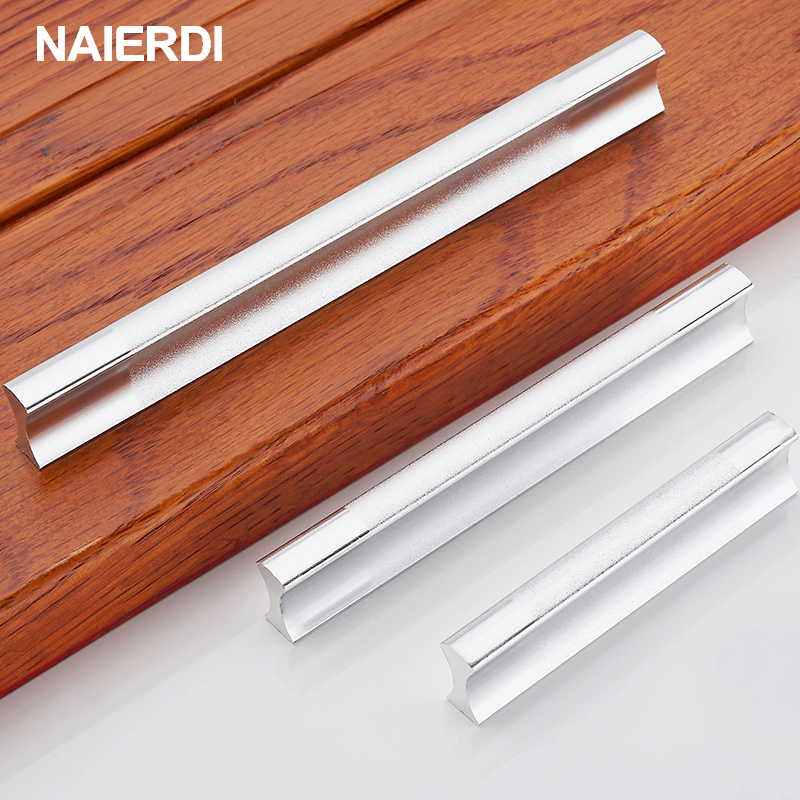 NAIERDI Drawer Pulls Kitchen Handles Aluminum Alloy Door Knob Cabinet Holder Case Box Puller Stick Furniture Handle Hardware 4pcs naierdi c serie hinge stainless steel door hydraulic hinges damper buffer soft close for cabinet kitchen furniture hardware