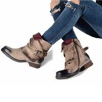 2017 Fashion Winter Woman Ladies Horse Riding Boots Vintage Combat Punk Ankle Shoes Women Genuine Leather Short Boots