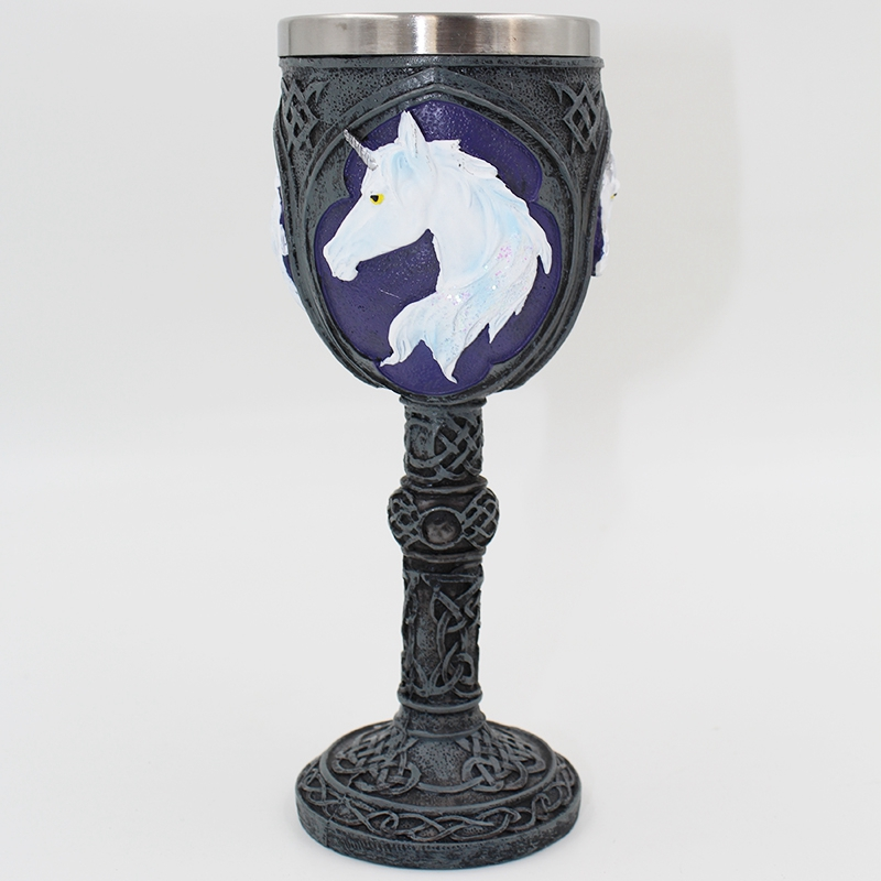 Novelty Unicorn Goblet Cup Double Wall Stainless Steel Drinking Wine Glasses Whiskey Cup Geek Skull Goblet Mug Lover Sweet Gift