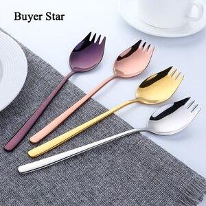 Покупатель звезда 4 шт красочные длинные ручки Spork с зеркальной полированной чашей 304 нержавеющая сталь закуска десертная ложка салат вилка