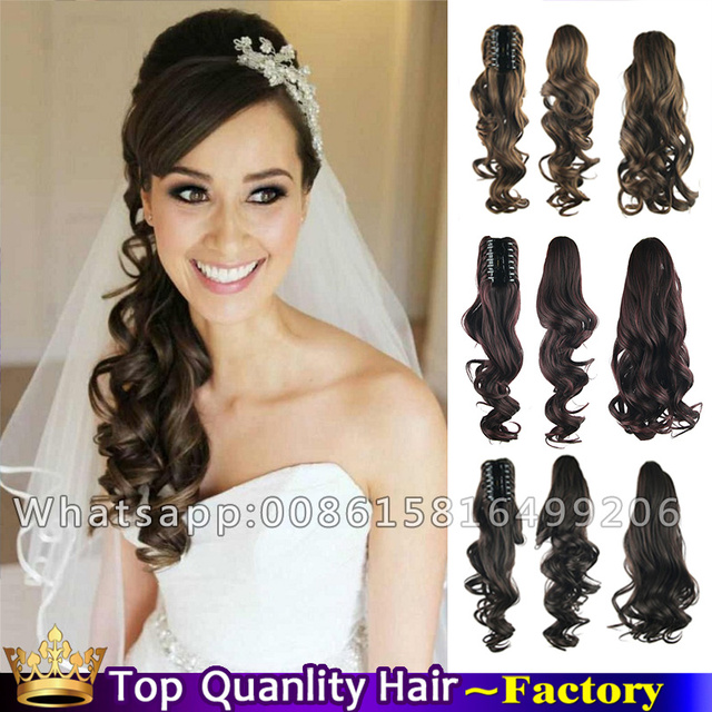 24 Claw Clip Curly Side Ponytail Long Natural Hair Tail Sexy Wedding Hairstyles