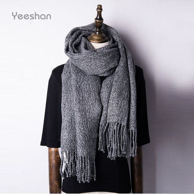 Yeeshan Grey Scarf Women 200*35 CM Tassel Fringe Autumn Style Cachecol de la Brand Desinger Scarf Women Designer Scarves