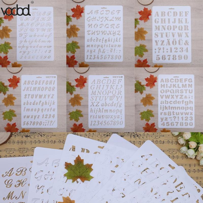 Letter Alphabet Number Layering Stencils for Wall Scrapbooking Painting Template Stamps Photo Album Pochoir Cards Crafts Decor cutiepie kinds of 0 9 numbers transparent clear stamps for scrapbooking diy silicone seals photo album embossing folder stencils