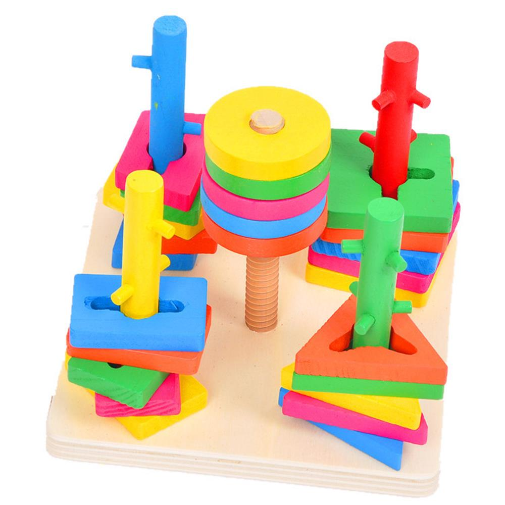 ФОТО wooden educational toys color geometric blocks study toy for exercise kid baby brain hand