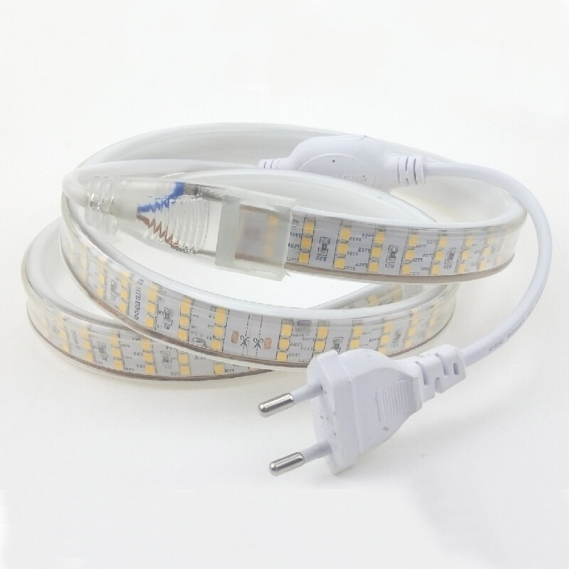 LED Strip Light Waterproof 4m 5m 10m 20m 30m 220V 2835 276led/m Three Row LED Tape Flexible Strips Rope Ruban Warm Cold white CE