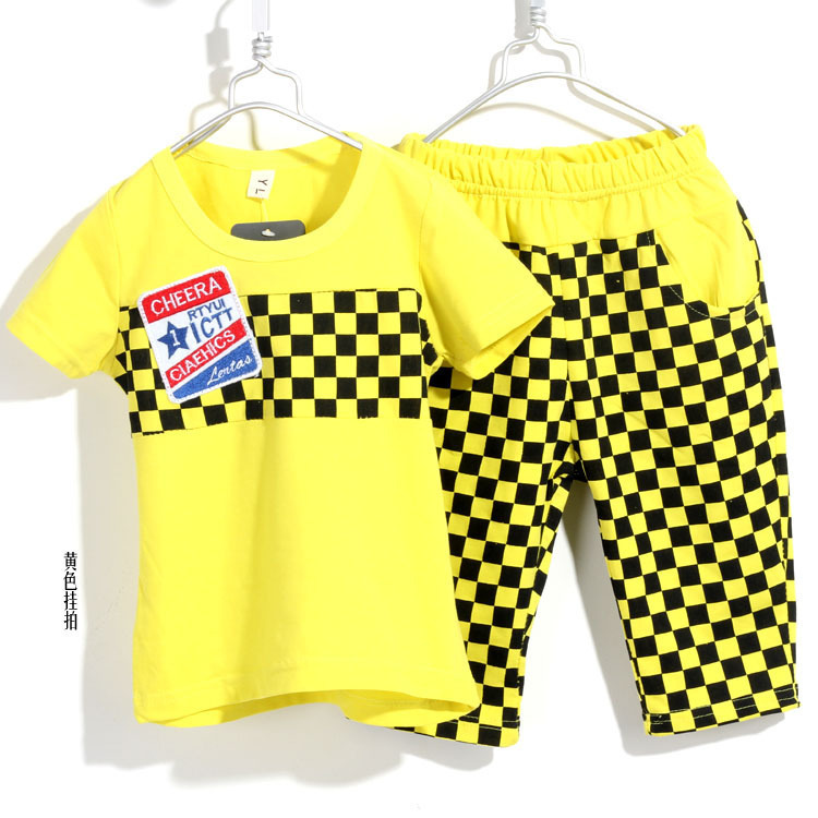 2013 Popular Korean Style Summer Cotton Plaid Boys Clothing Set 2 Pieces/Set 2Colours Kids Clothing Set 4Sets/lot  Free Shipping