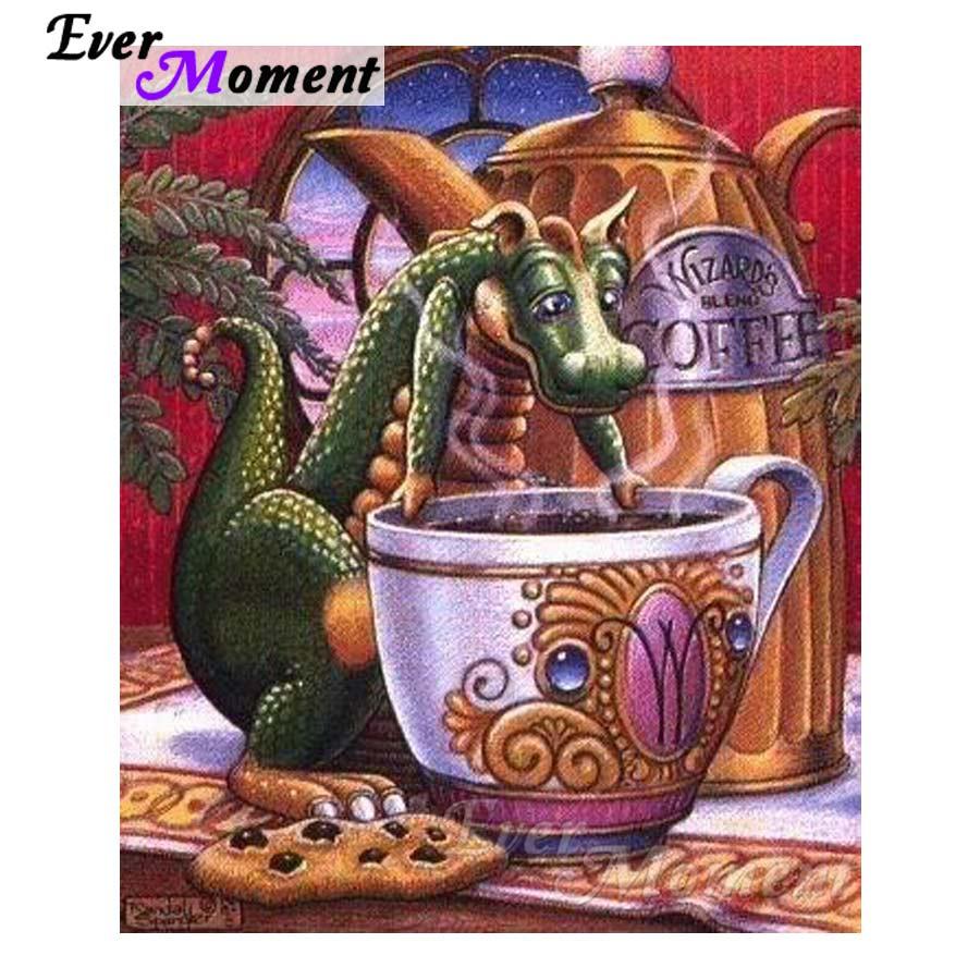 Ever Moment 5D DIY Diamond Embroidery Cartoon Dragon Tea Diamond Mosaic Full Square Drills Artwork Home Decoration ASF1211