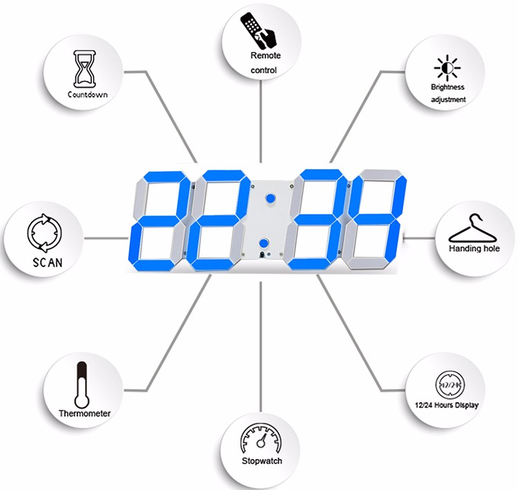 Promotion! Large Led Wall Clock Home Design Show Time Temperature On The Wall In The Living Room Digital Clock for Home Decor