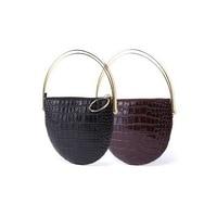 Crocodile Pattern Genuine Leather Women Purse Clutches Luxury Metal Handle Evening Bag Semicircular Round Wristlet Bag Handbag