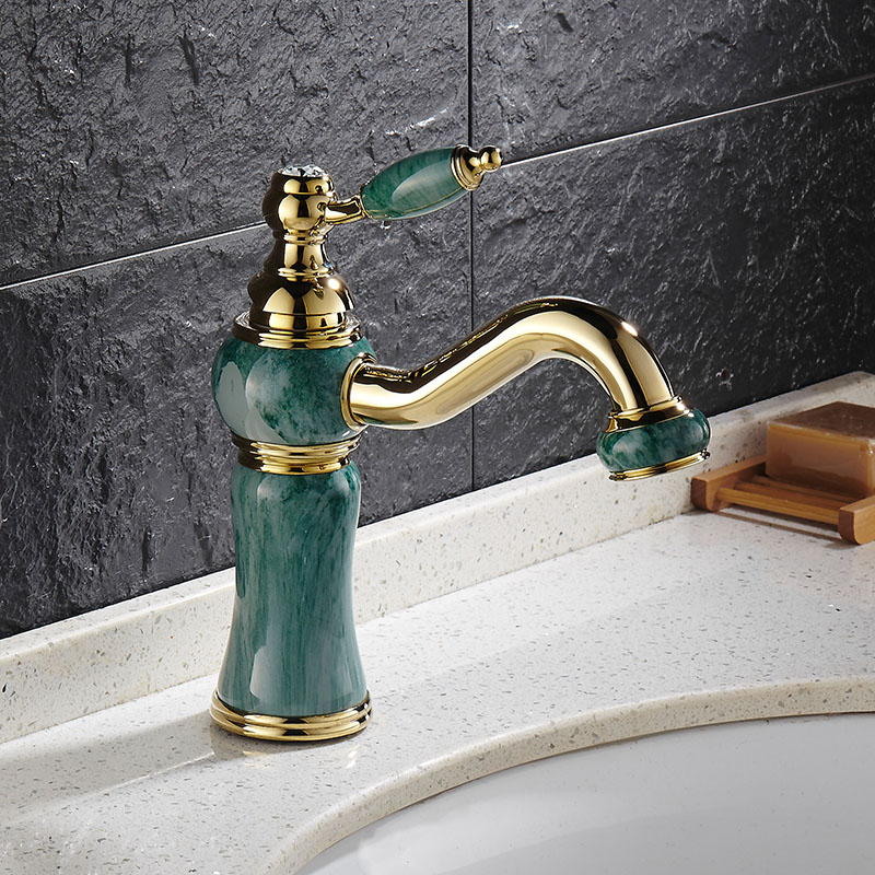Red Rose Gold Artificial Jade Basin Faucet Vintage Tap 360 Swivel Spout Brass Cold Hot Mixer Classic Luxury Basin Faucet Tap  artificial jade embossed ring