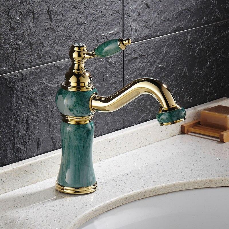 Rouge Rose or artificiel Jade bassin robinet Antique robinet 360 pivotant bec laiton froid chaud mélangeur classique luxe bassin robinet