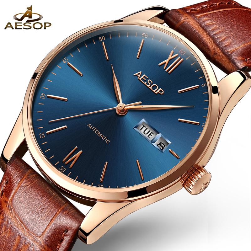 Aesop Luxury Men Classic Date automatic Mechanical Watch Self-Winding Business Genuine Leather Strap Calendar Wrist Watch original binger mans automatic mechanical wrist watch date display watch self wind steel with gold wheel watches new luxury