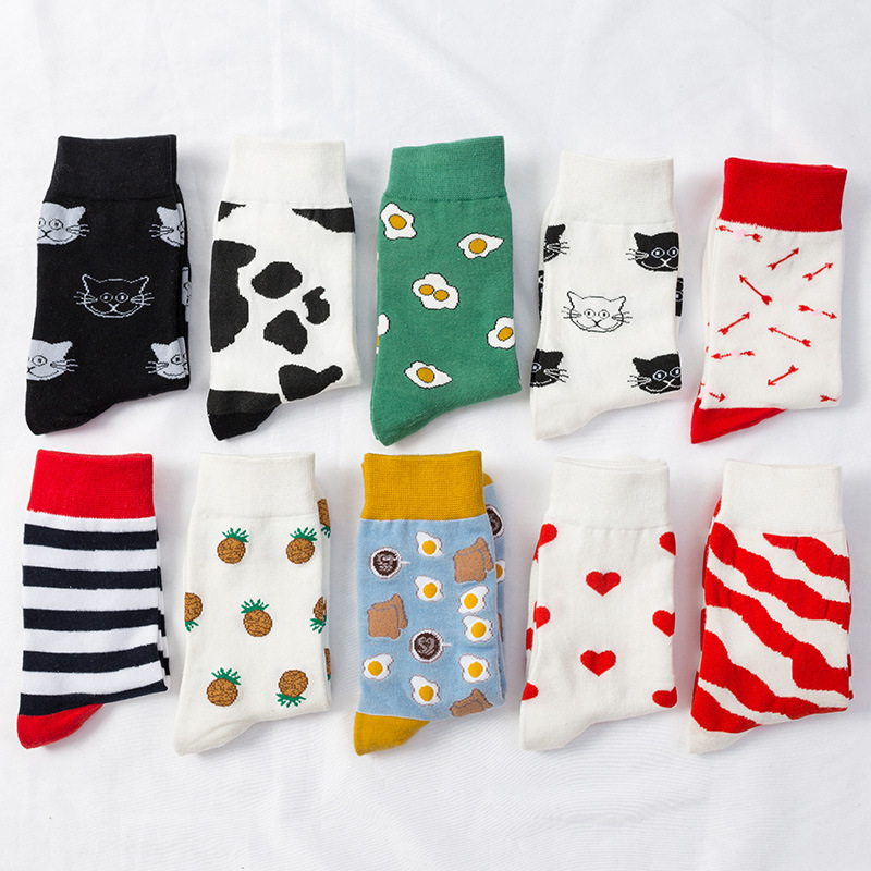 1PC Fashion Women   Socks   Funny   Socks   Unisex High Hosiery Harajuku Eggs Pattern Fresh Fruits   Socks   Breathable Soft Meia   Socks