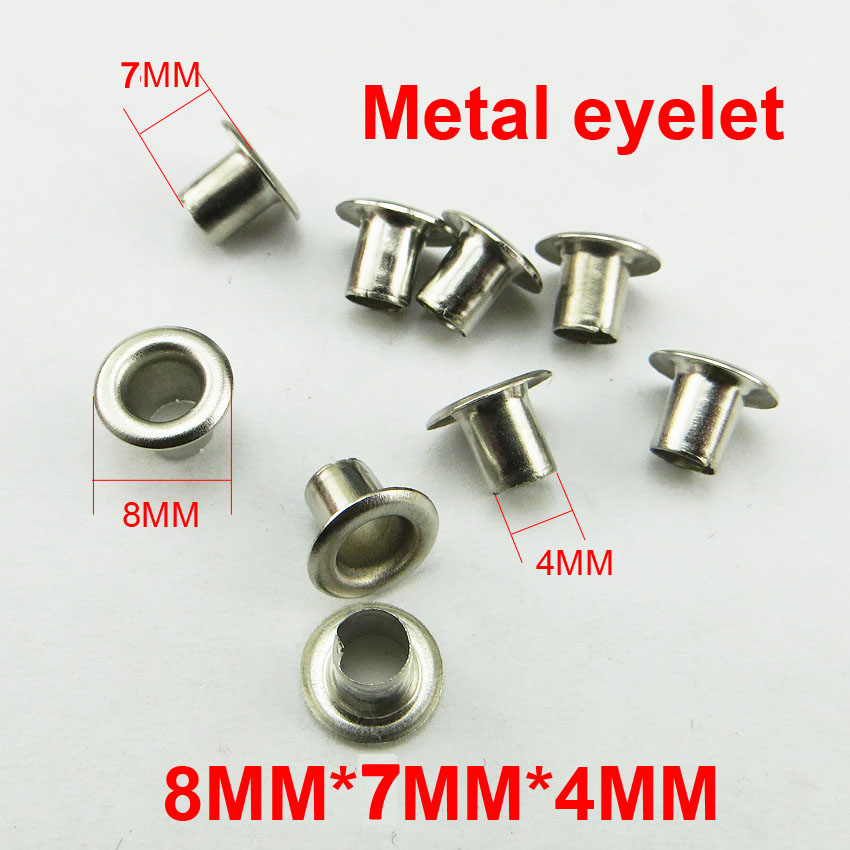 300pcs 8MM*7MM*4mm METAL silver eyelet round button clothes accessory leather bag shose  ...
