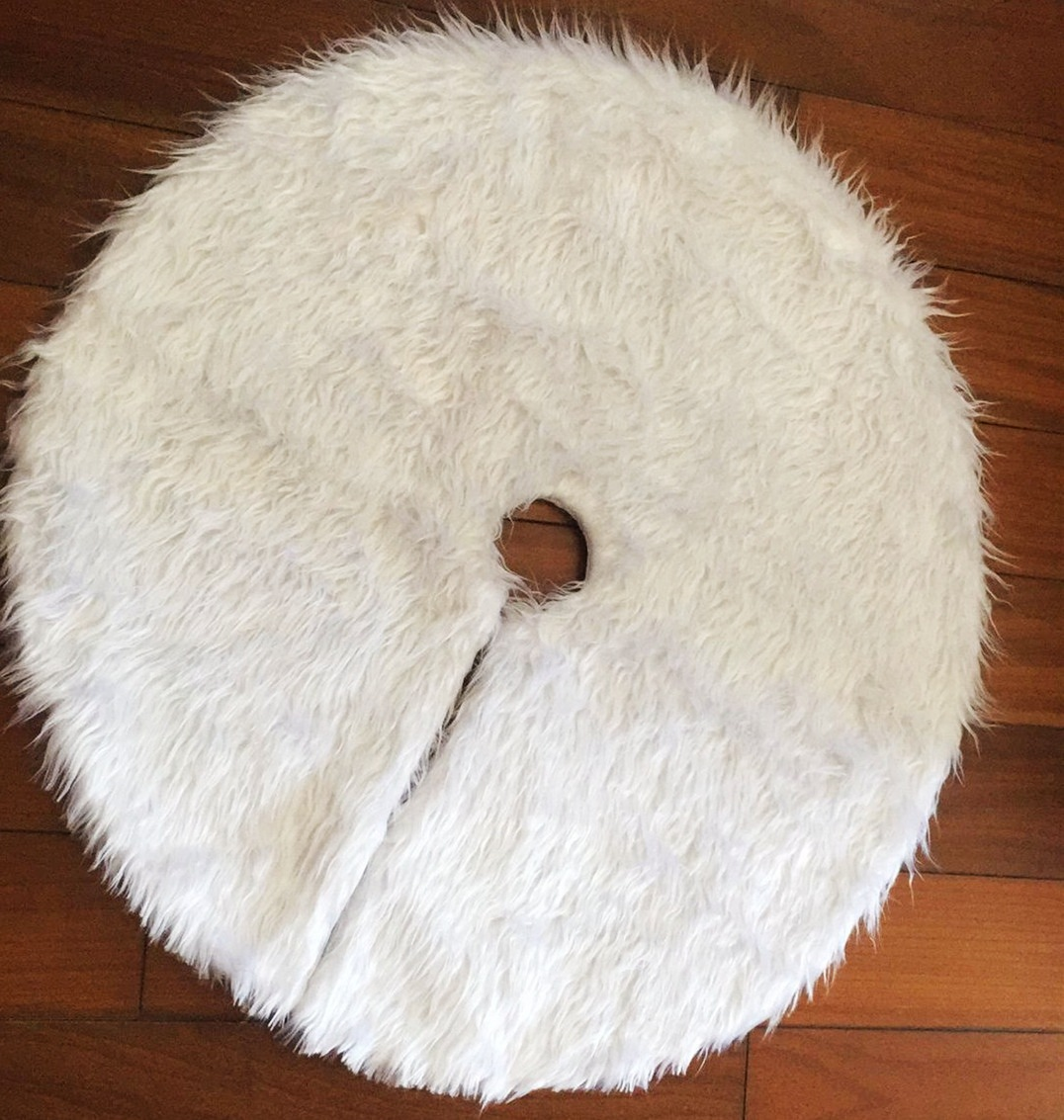 1pc Creative White Plush Christmas Tree Skirt For XMAS Tree Decoration New Year Home Party Supplies