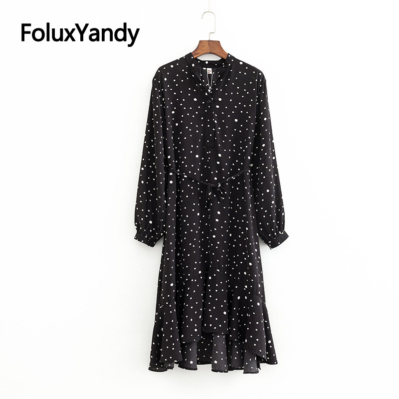 Spring Chiffon Dress Women Mid Calf Long Sleeve Casual V neck Plus Size Ruffles Print Dress Vestidos Black Blue KKFY3226 in Dresses from Women 39 s Clothing