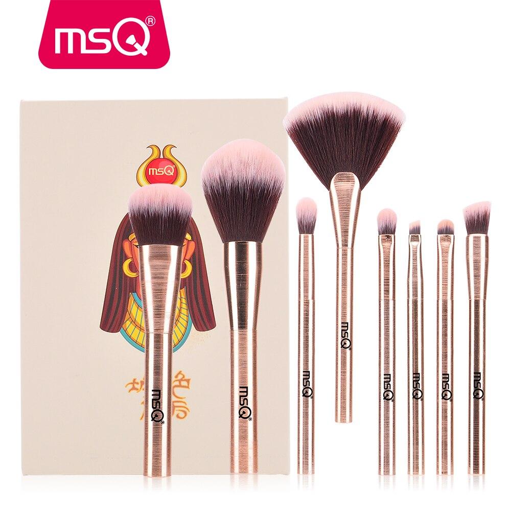 MSQ 8 pcs Maquillage Brosses Contour Poudre Fard À Paupières Make Up Brosses pincel maquiagem Cléopâtre Série Givré En Aluminium Avec Le Cas