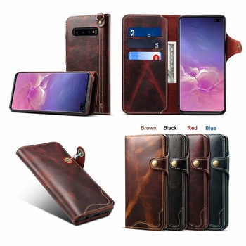 Button Retro Vintage Lanyard Book Flip Genuine Leather Wallet Case for Samsung Galaxy S10/S10 Plus Phone Cover Coque