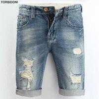 Men Denim Destroyed Shorts Knee Length New Summer Ripped Hip Hop Jeans Shorts Men Cool Short with Hole Slim Retro Beggar Shorts