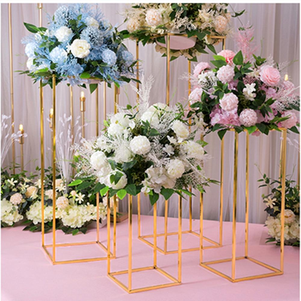 Aijo.ml & 4PCS Floor Vases Flowers Vase Column Stand Metal Pillar Road Lead Columns Wedding Table Centerpieces Rack Event Party Decoration