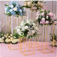 4PCS Floor Vases Flowers Vase Column Stand Metal Pillar Road Lead Columns Wedding Table Centerpieces Rack Event Party Decoration