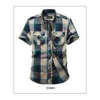 2018 nouveau arrivent Marque-vêtements D'été Casual Hommes Chemises 100% Coton Manches Courtes de Mode Coloré Plaid Chemises camisa #8516