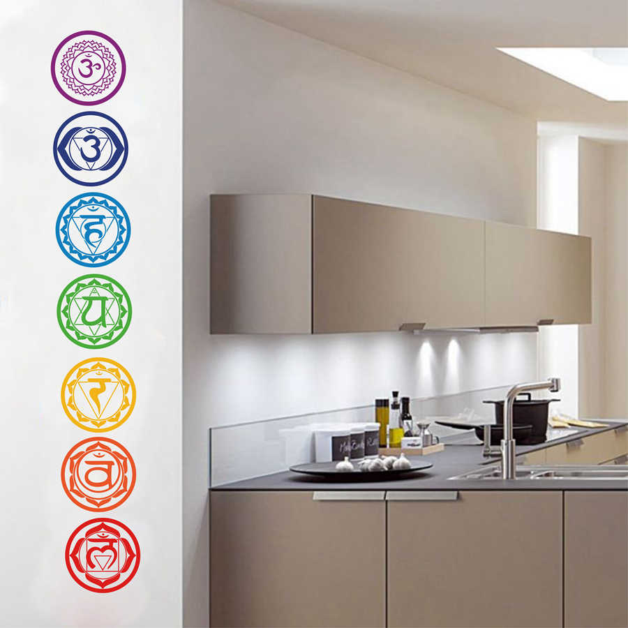 7pcs/set Chakras Vinyl Wall Stickers Mandala Yoga Om Meditation Symbol Wall Decals For Home Living Room/Yoga Studio Decoration