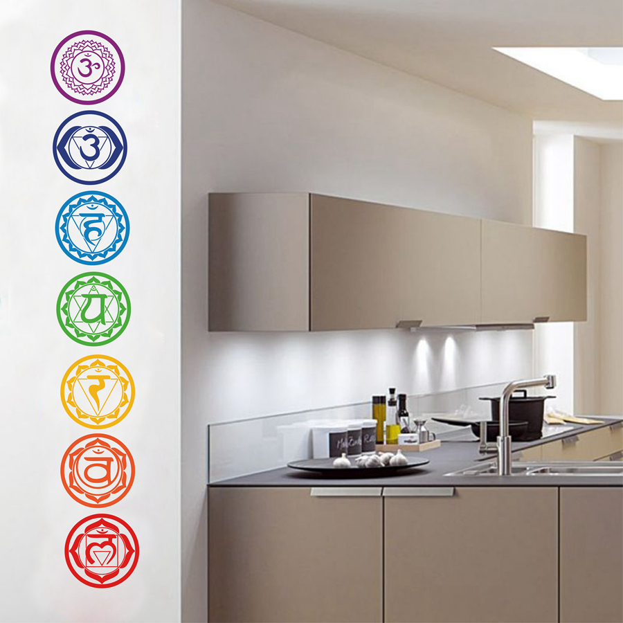 7pcs Set Chakras Vinyl Wall Stickers Mandala Yoga Om Meditation Symbol Wall Decals For Home Living Room Yoga Studio Decoration Wall Decals Vinyl Wall Stickersstickers Mandala Aliexpress