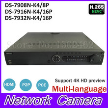 Hik POE NVR 8CH 16CH 32CH DS-7908N-K4/8P DS-7916N-K4/16P DS-7932N-K4/16P with 4K resolution 4SATA interface NVR for CCTV Camera