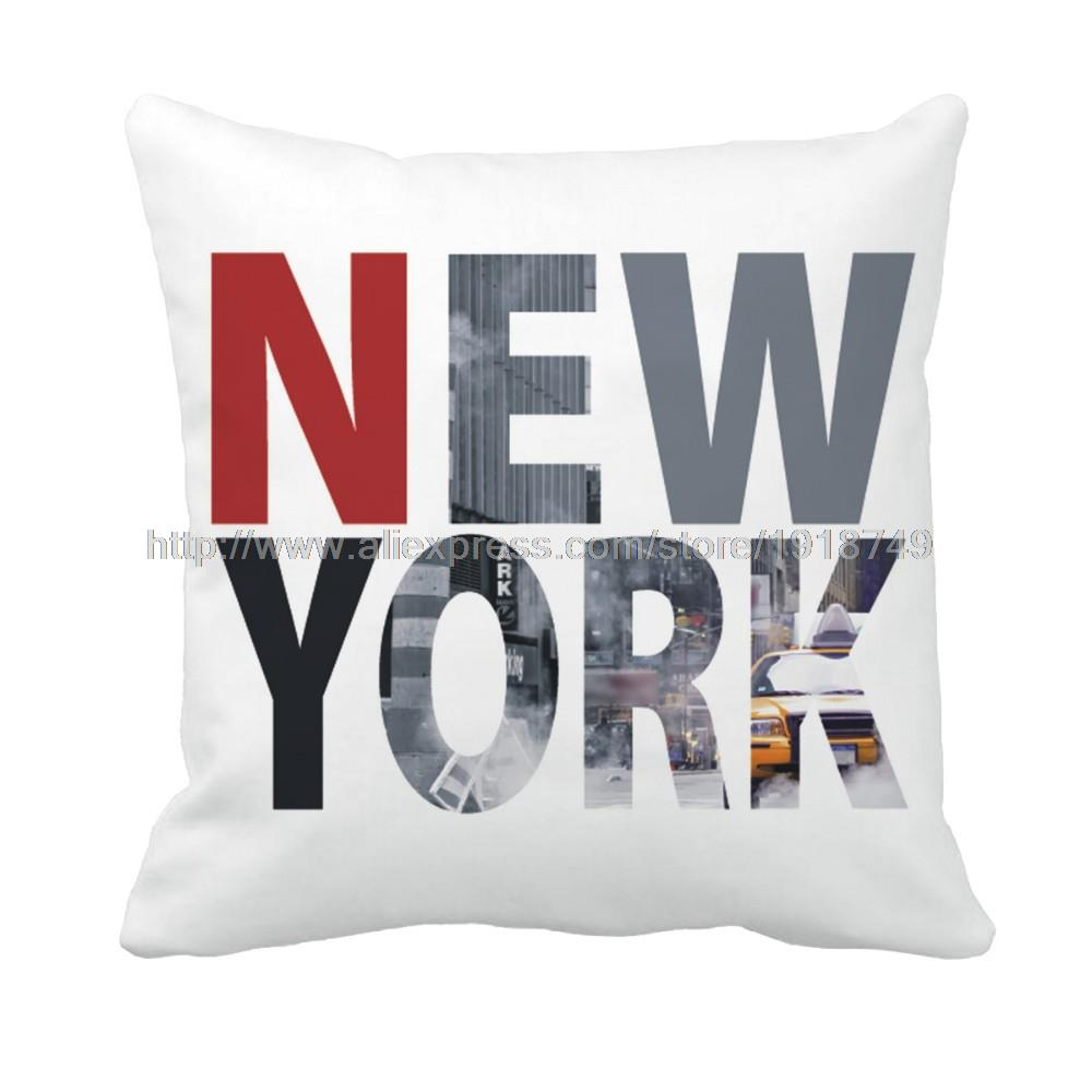 red and grey letter new york printed custom white euro cushion cover home and sofa decoration modern throw pillow case