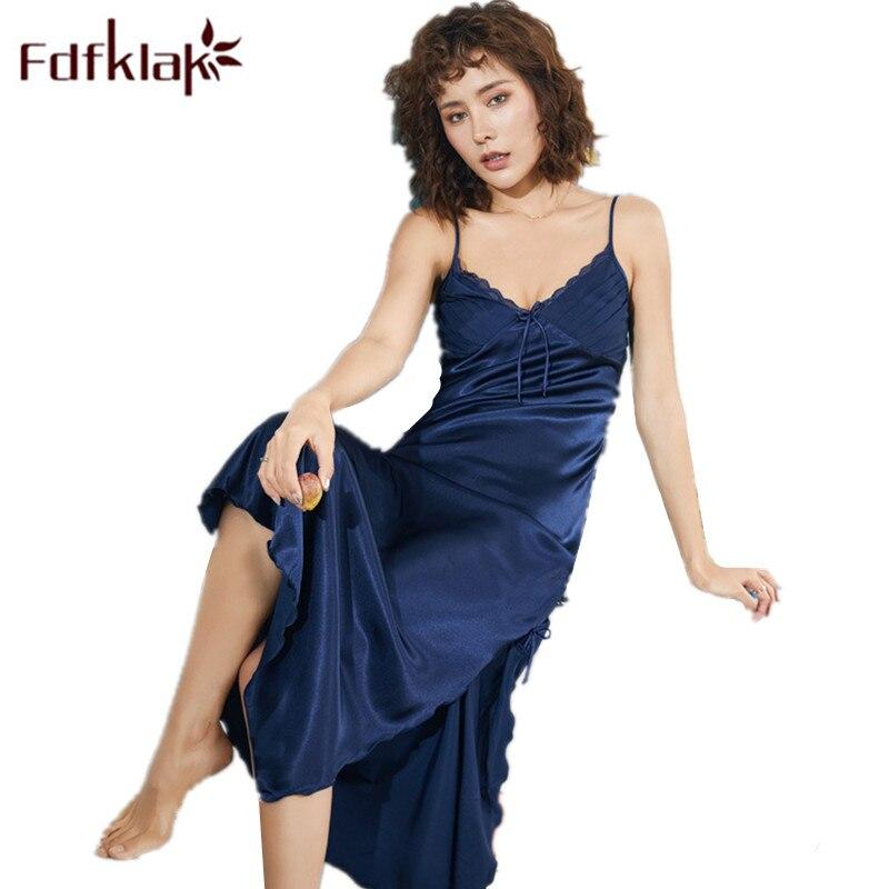 Plus Size Lingerie XXXL Sexy Nightwear Hot Night Dress For Women 2019 Summer Sleeveless Nightgown Long Sleeping Dress Fdfklak