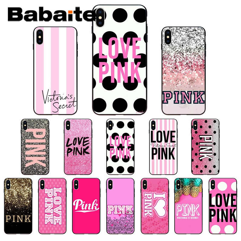 Babaite PINK VS Brand NEW LOVE PINK Coque Shell Phone accessories Case for iPhone 6S 6plus 7 7plus 8 8Plus X Xs MAX 5 5S XR