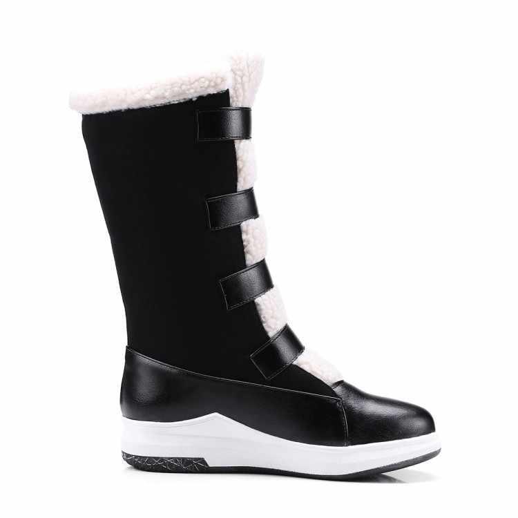MLJUESE 2019 kadın Orta buzağı çizmeler düz platformu botları Kanca ve Döngü kış kısa peluş kadın botları günlük çizmeler 34- 43