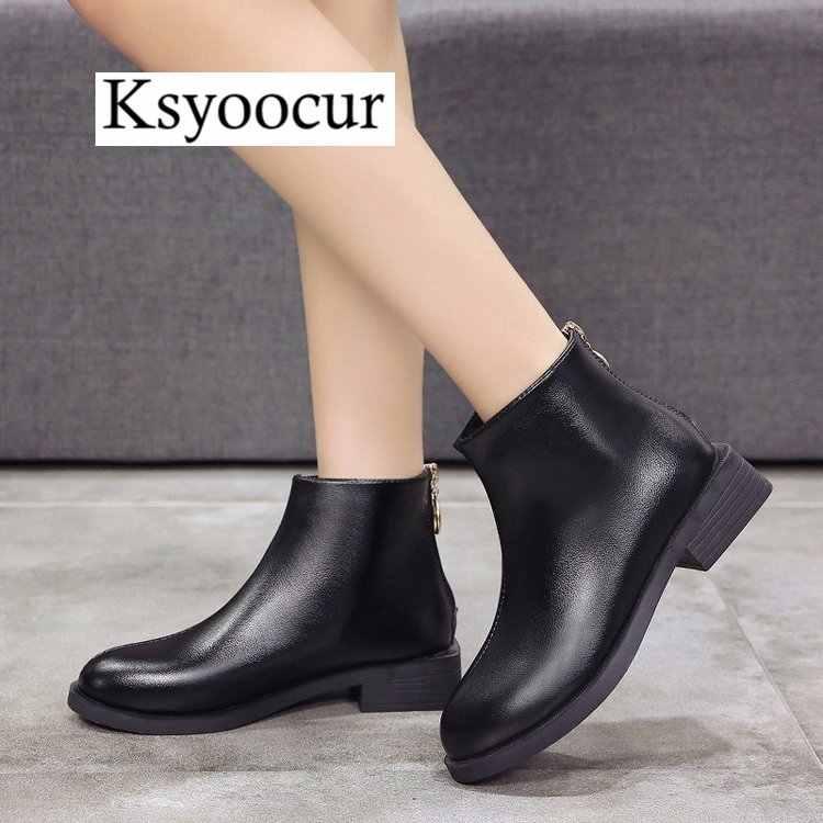 0c1125fcd017 ... Ksyoocur Back Zipper Black Ankle Boots for Women Warm Insole Women  Boots Low Heel Autumn  ...