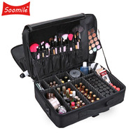 Soomile Brand Women Professional Big Capacity Makeup Organizer Bolso Mujer Multilayer Suitcase Cosmetic Case Female Make